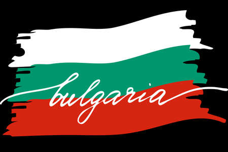 Flag of Bulgaria with handwritten text, vector. There are true colors of flag