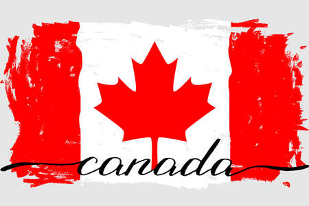 Canada flag grunge painted vector handwriting. There are true colors of the flag