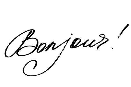 Bonjour. Hello in French. Handwritten black text isolated on white background, vector. Each word is on the separate layer