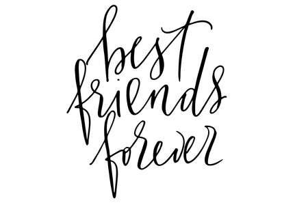 Phrase writing best friends forever handwritten text vector Illustration