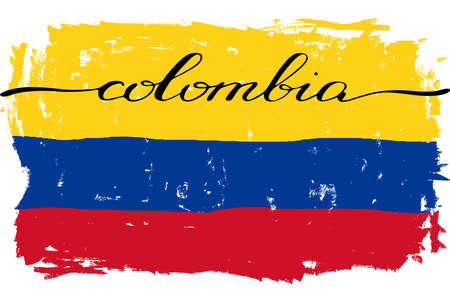 Colombia flag handwriting grunge painted vector. There are true colors of flag Illustration