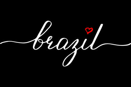 Brazil handwritten text vector script Illustration