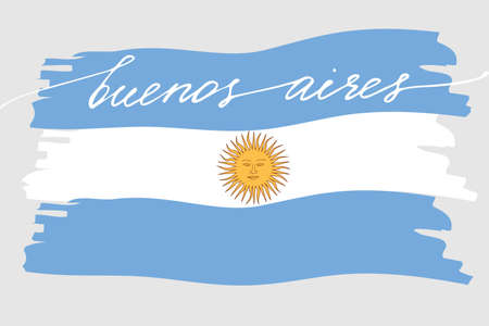 Flag of Argentina with handwritten text Buenos Aires and hand drawn sun, vector. There are true colors of flag Illustration