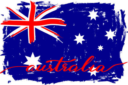 Australia flag in grunge style, handwritten text, vector. There are true colors of australian flag Illustration