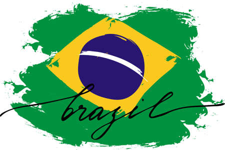 Brazil. Flag of brazil of with handwritten text, vector. There is real colors of flag. Illustration