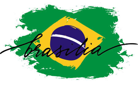 Brasilia. Flag of brazil of with handwritten text, vector. There are true colors of flag.
