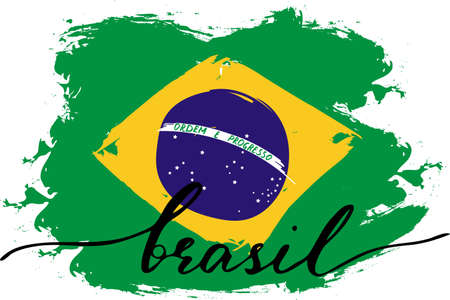 Brazil grunge flag with handwritten text on Portuguese language, vector. There are true colors of flag Illustration