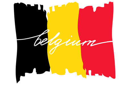 Flag of Belgium with handwritten text, vector. There are true colors of flag