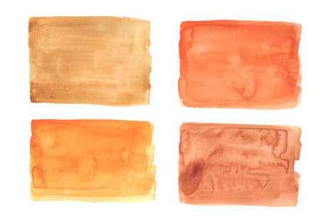 Watercolor swatches in orange hand drawn isolated on white background. Abstract orange watercolor on white background.This is watercolor splash.It is drawn by hand