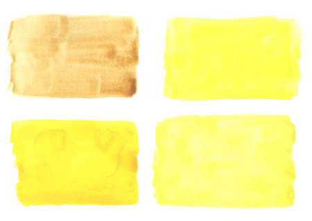 Watercolor yellow swatches on white background. Pale yellow background painted in watercolor on white background