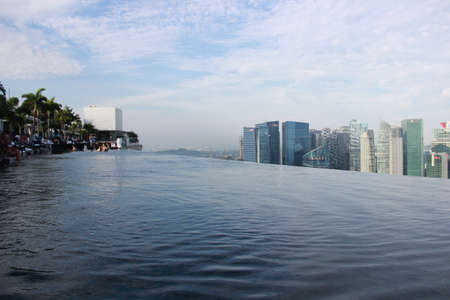 Swimming pool on the roof of the hotel Marina Bay Sands in Singapore Editorial