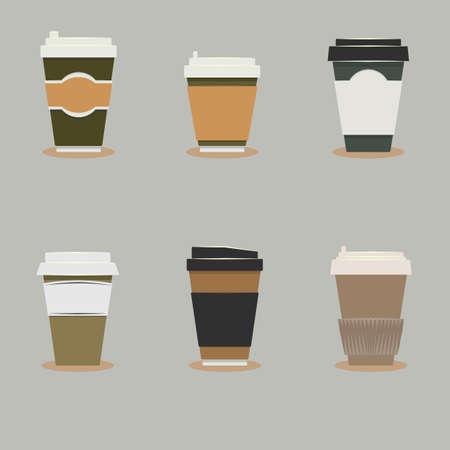 Vector illustration with set of coffee cups 矢量图像