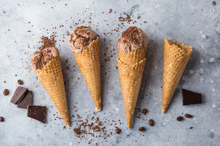 chocolate ice cream in waffle cones, top view