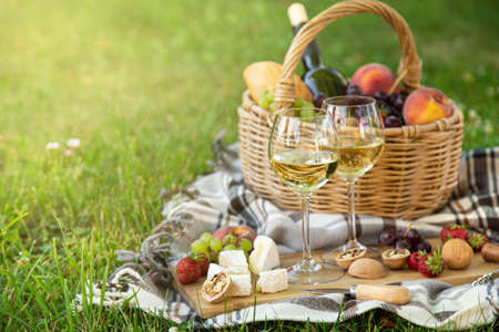 Picnic setting with white wine, cheese, fruits and nuts. Outdoor dinner on a green lawn, selective focus, copy space