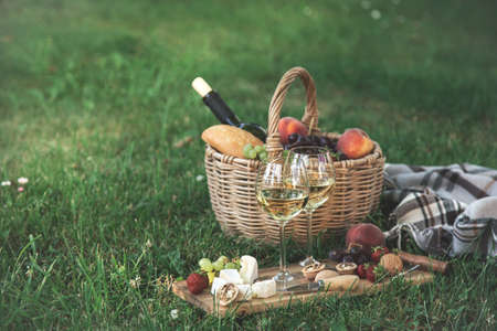 Picnic setting with white wine, cheese, fruits and nuts. Outdoor dinner on a green lawn, selective focus, copy space, toned