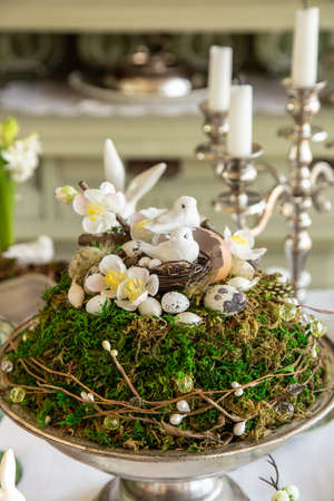 Easter decoration on festive table, selective focus