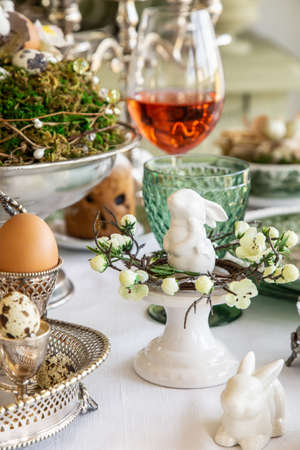 table with festive Easter decoration, selective focus