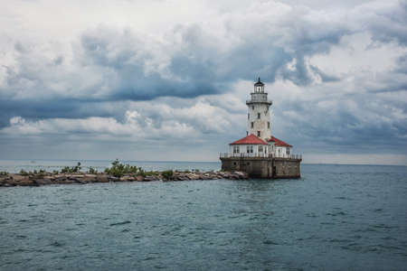 lake michigan lighthouse: Chikago lighthouse on Michigan Lake