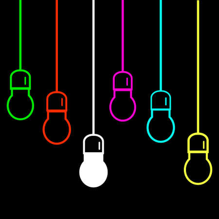 Bright colored bulb hanging on a wire on a black background Illustration