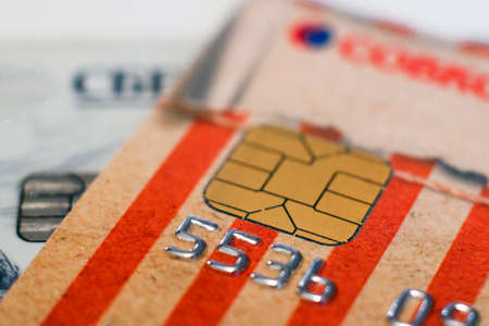 04.16.2018 Magnitogorsk, Russia: credit cards Master card and visa with microchip close-up Stock Photo