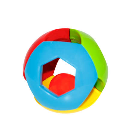 multi-colored ball toy rattle for baby isolated on white background Stock Photo
