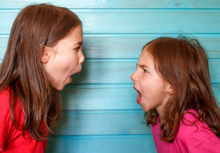 A quarrel between friends. Girls scream at each other