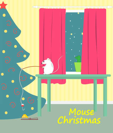 A mouse catches a piece of cheese on Christmas night. Vector illustration