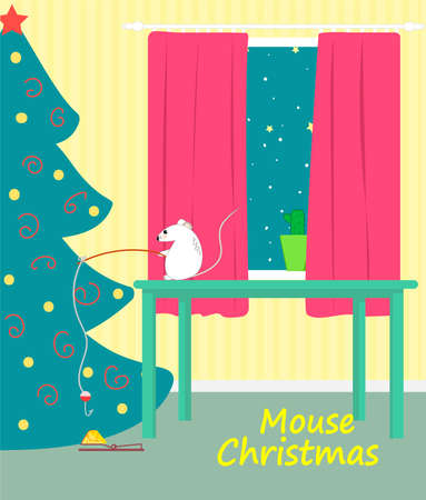 A mouse catches a piece of cheese on Christmas night 版權商用圖片