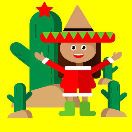 Mexican girl in sombrero and elf costume celebrates New Year near Christmas cactus with a star. Vector illustration in bright warm colors.