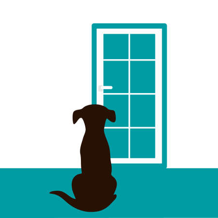 The dog is waiting for the owner at the door
