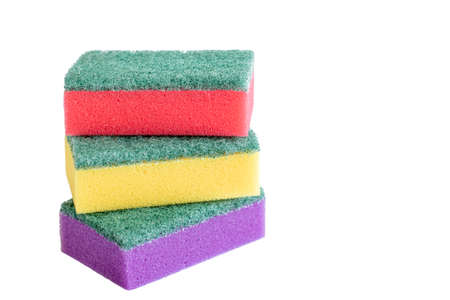yellow, red and violet dish sponges isolated on the white background