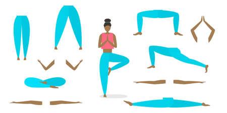 Vector yoga poses constructor. Arms, legs torso head