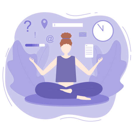 Business woman relaxes in yoga position among working day