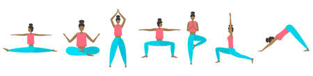 Vector yoga poses set. Clear bright colors. Modern flat style