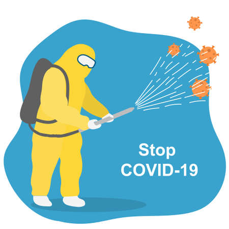 Disinfector in a protective suit with a spray in hand. Pest control