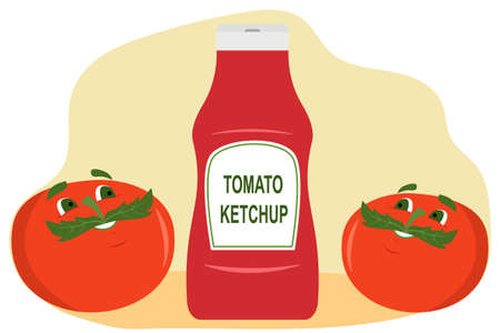 Funny tomatoes admire delicious tomato ketchup in a bottle Иллюстрация