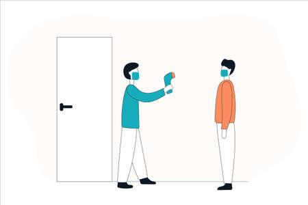 Un homme portant un masque médical mesure la température corporelle avec un capteur à distance.