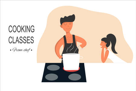 Cooking courses vector concept. A man in an apron is preparing a delicious soup in his kitchen. Nearby stands a girl admiring his talent.