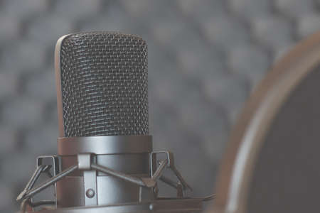 Studio dynamic microphone on a stand with a pop filter. Sound recording. Streaming