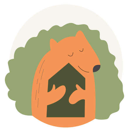 The bear hugs the forest house. Vector concept about nature protection