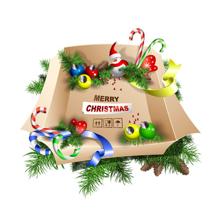 Large box of decorations with Merry Christmas lettering vector