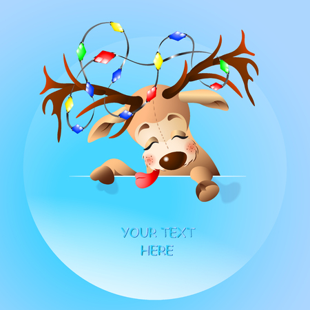 Illustration of a funny reindeer with place for text