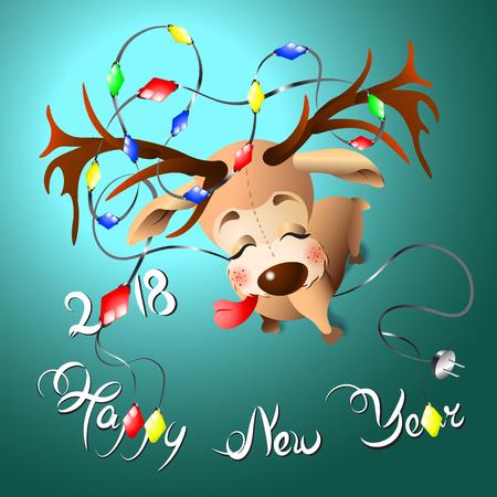 Cerf drôle emmêlé dans les guirlandes avec lettrage Happy new year 2018