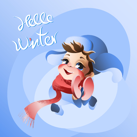Little boy with Hello winter lettering vector