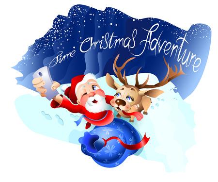 Babbo Natale e un vettore di Natale di renna