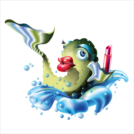 Fish and Lipstick. Big red lips. Illustration  isolated on white background.