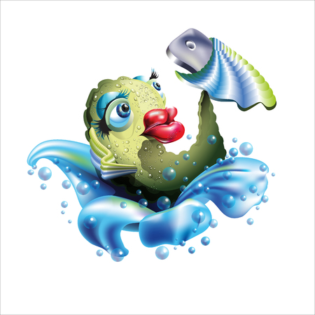 Self Fish Holding a Smart phone. Big red lips. Illustration  isolated on white background.