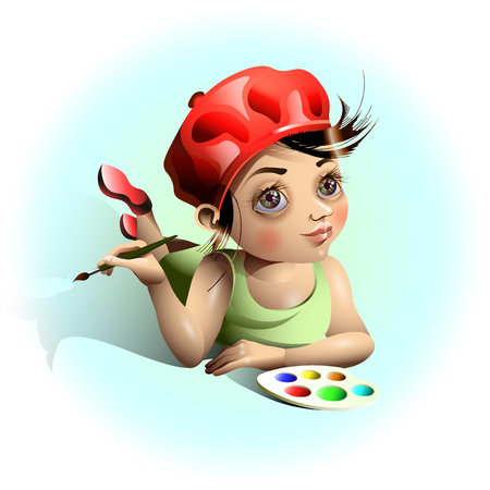 Young artist paints with a brush.
