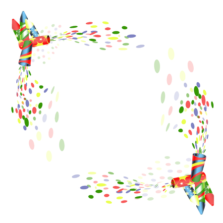 party poppers with confetti for celebration illustration on white background