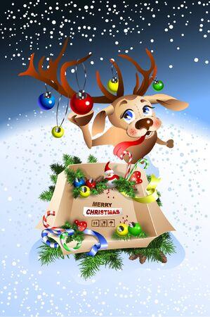 面白いトナカイはあなたにメリークリスマスを願っています!贈り物と価値のあるボックス。  イラスト・ベクター素材